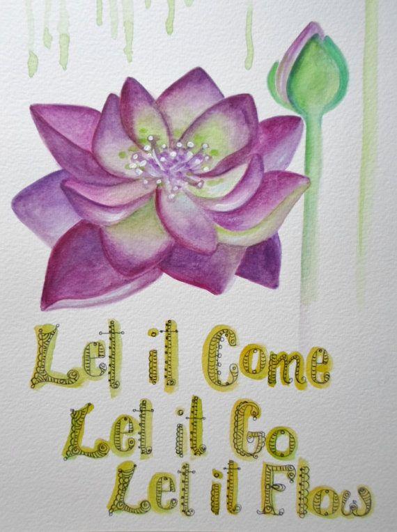 Let it Flow Lotus  Om Yoga Art 8 x 10 Print by ChubbyMermaid, $10.00