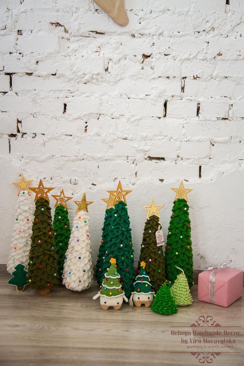 Tall Large Farmhouse Christmas Tree Crochet Xmas Decor Etsy Cool Christmas Trees Christmas Tree Inspiration Christmas Tree Bows
