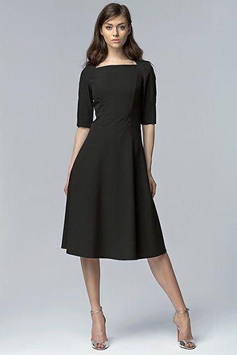 Robe Noir Chic Habillé S63 Nife Taille 34 36 38 40 42 Neuf