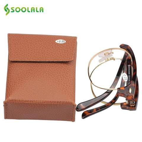 e0f13a05f8 SOOLALA Foldable Reading Glasses Women Men Semi-rimless Clear Lens Folding  Pocket Reading Glasses PU case +1.0 to 3.5