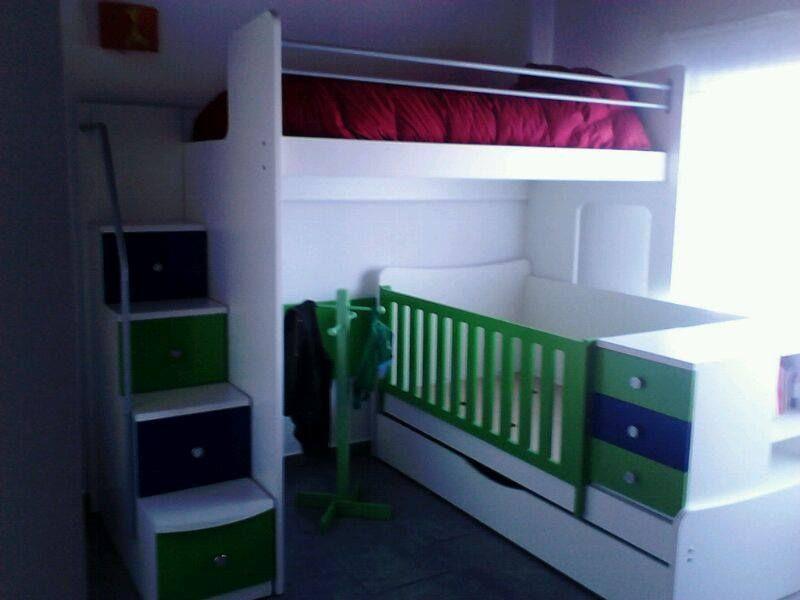 Cucheta con cuna en L + escalera con cajones! | Muebles entregados ...