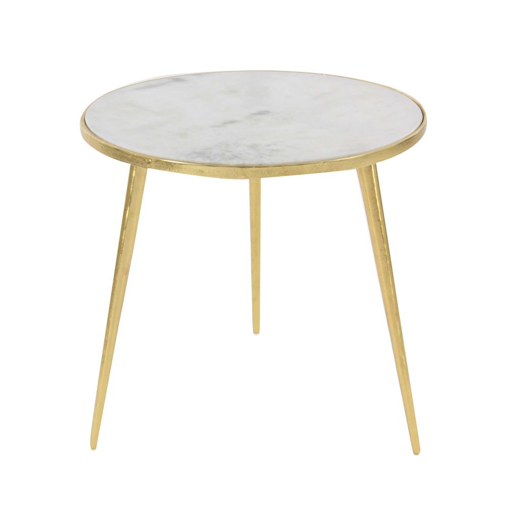 Best Litton Lane Aluminum Marble Accent Table In Gold Gold 640 x 480