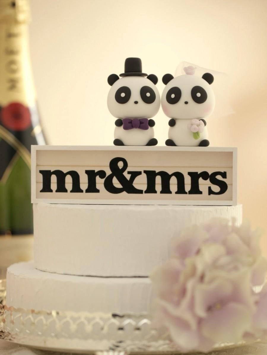 Panda Wedding Cake Topper---k927 | fondant toppers | Pinterest ...