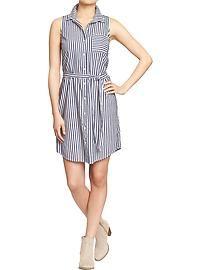 Women's Striped Sleeveless Shirtdresses