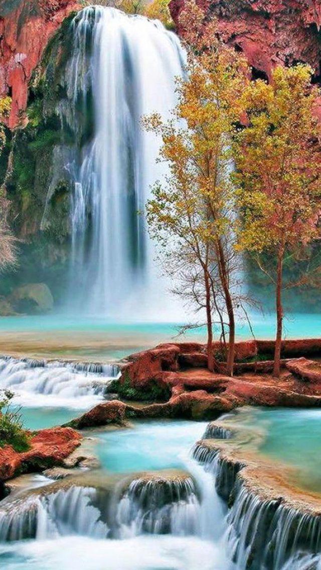 Autumn Waterfall Landscape iPhone 5s wallpaper