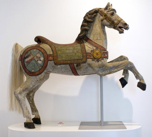 German wooden carousel horse carved by Frederich Heyn in 1870.