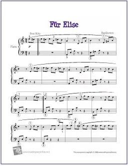 Fur Elise Beethoven Sheet Music Easy Piano Sheet Music Piano