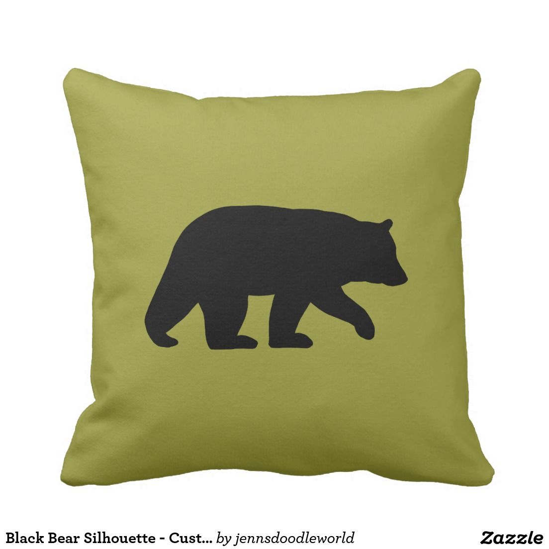 Black Bear Silhouette - Customizable Color Throw Pillow | Black ...