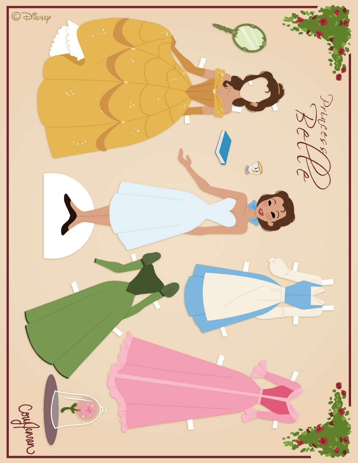 princess coloring pages belle beauty and the beast paper doll