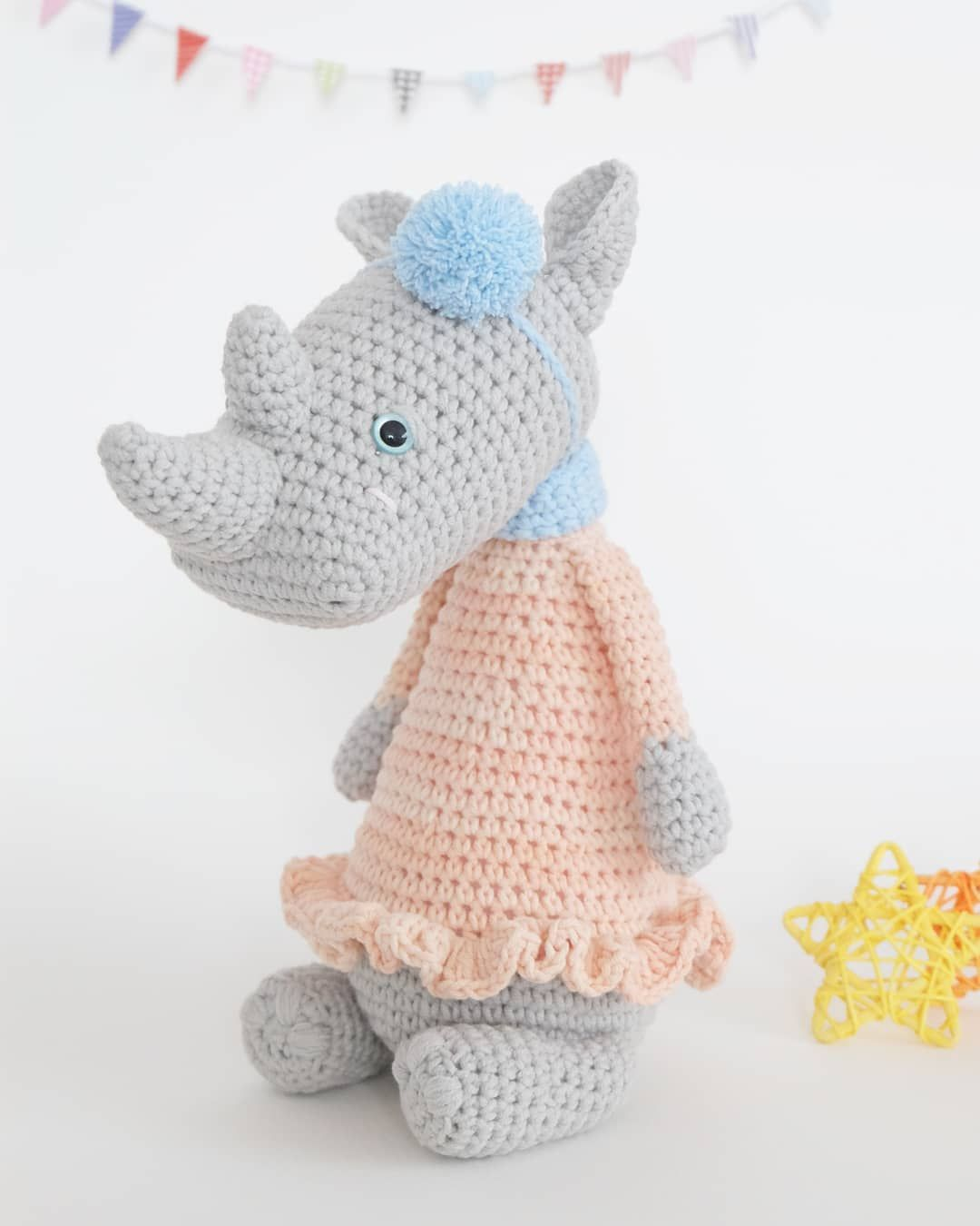 Rosie the rhino. Pattern now available in my #etsyshop from ...