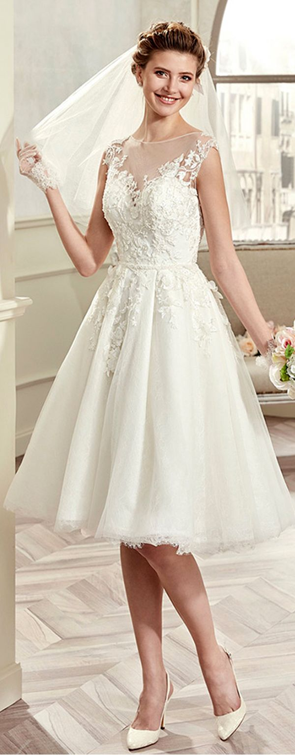 Charming tulle u satin bateau neckline aline kneelength wedding