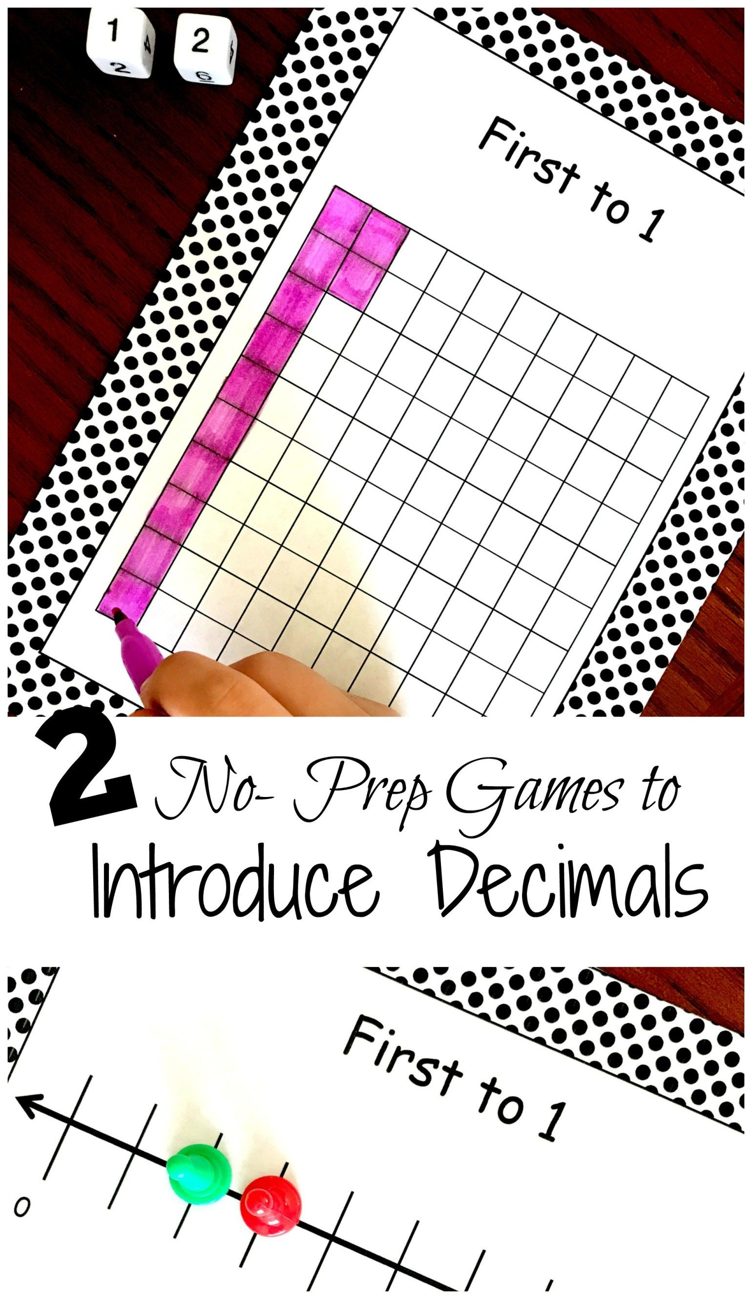 2 No Prep Printable Decimal Games To Introduce Modeling