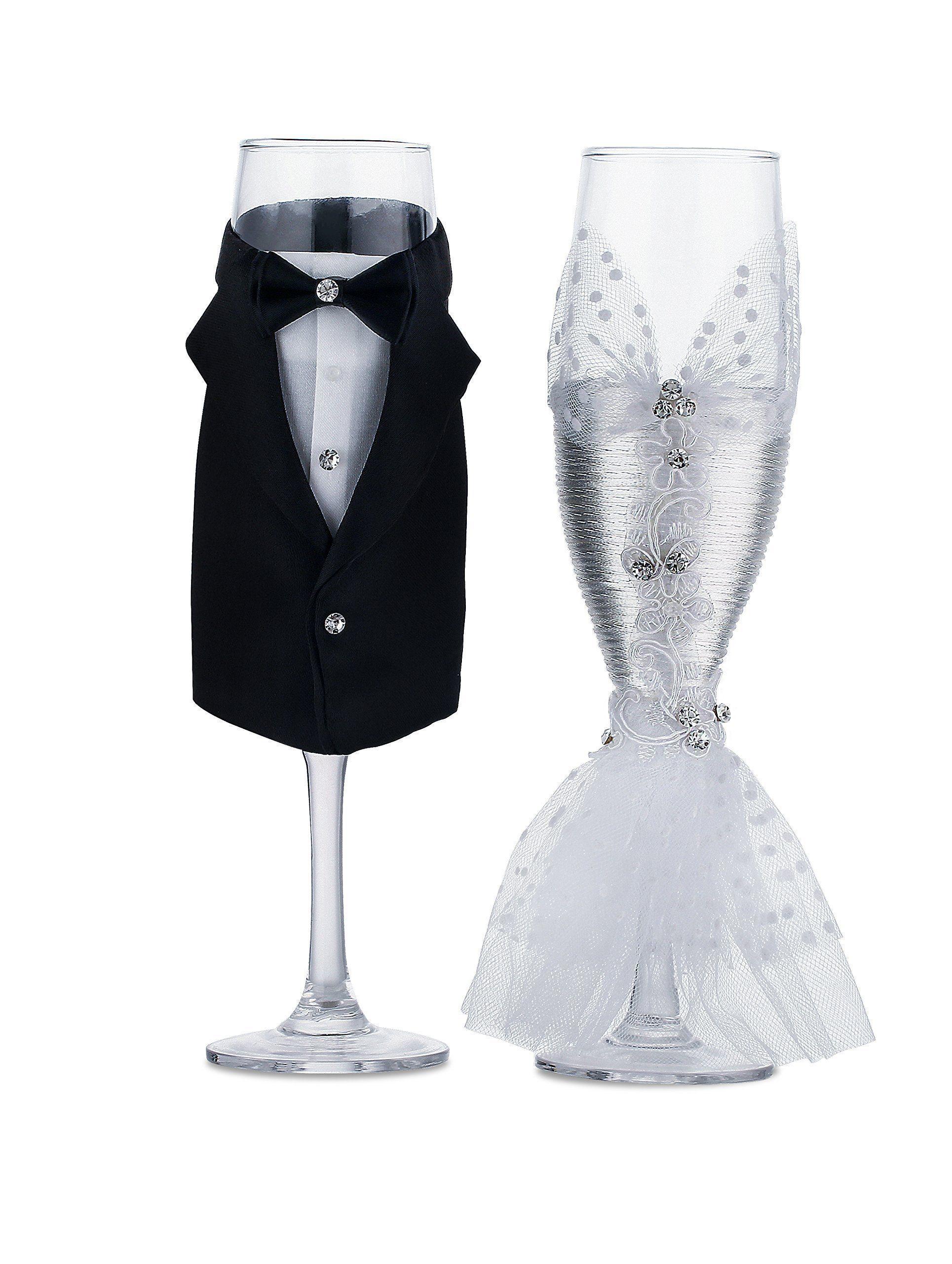 Wedding Tuxedo Dress Wine Glasses-ULA Handmade Bride and Groom ...