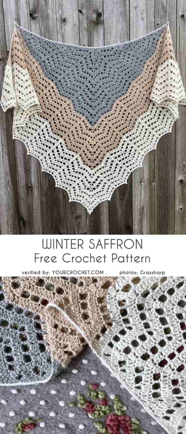 Winter Saffron Shawl Wrap Free Crochet Pattern #shawlcrochetpattern