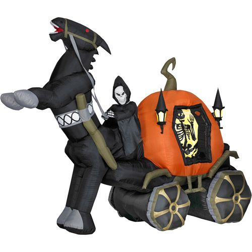 6 tall airblown halloween inflatable reaper carriage with horse - Halloween Inflatables Clearance