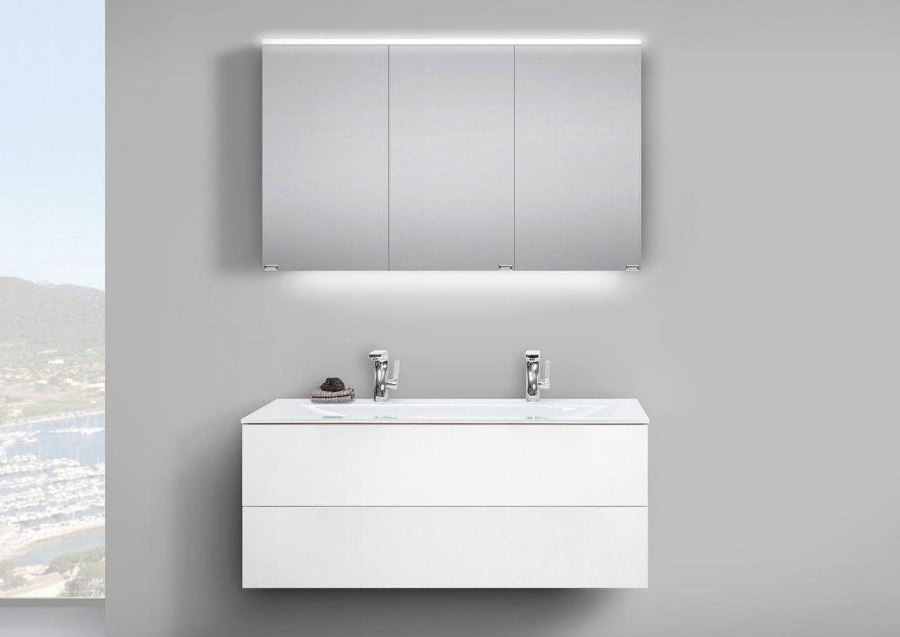 Badmobel Set Grifflos 120 Cm Glas Doppelwaschtisch Mit Unterschrank Und Led Spiegelschrank Jetzt Bestell Mit Bildern Doppelwaschtisch Mit Unterschrank Waschtischunterbauten