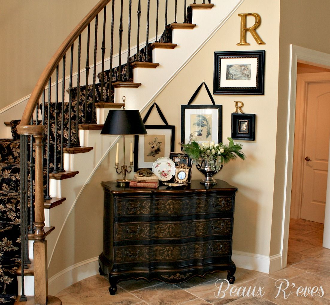 Foyer Staircase Decorating : Beaux r eves entry vignette for a curved wall the