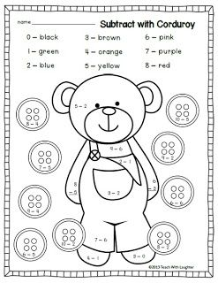 Corduroy Subtraction Freebie Subtraction Kindergarten Math
