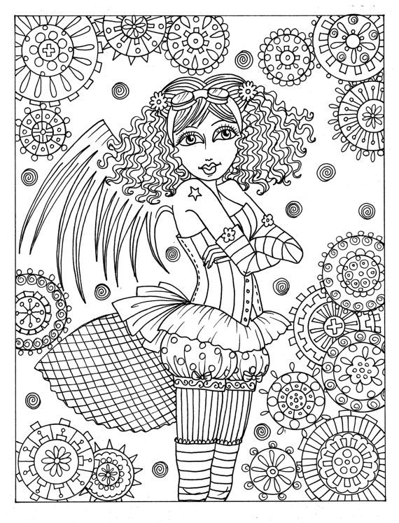 Steampunk Girls Coloring Book For All Ages Fun Quirky Cute Etsy In 2021 Coloring Books Steampunk Coloring Pattern Coloring Pages