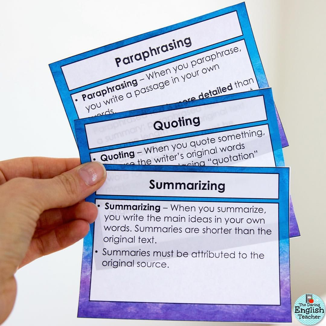 These Three Skill Paraphrasing Quoting And Summarizing Are Some Of The Most Important Secondary Student Need Paraphrase Be Yourself Quote Quotes Summary Quotation