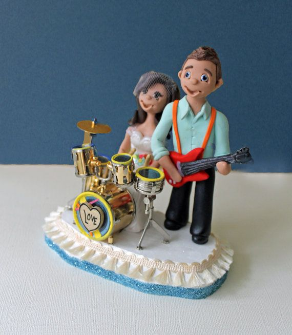 drum wedding cake toppers rocking wedding cake topper with drums and electric guitar 13758