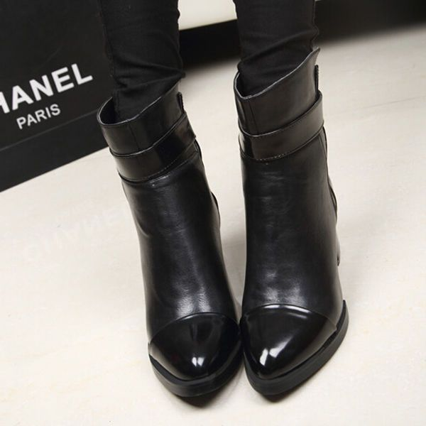 Pointed Toe Block Chunky Heel Ankle Boot for Women