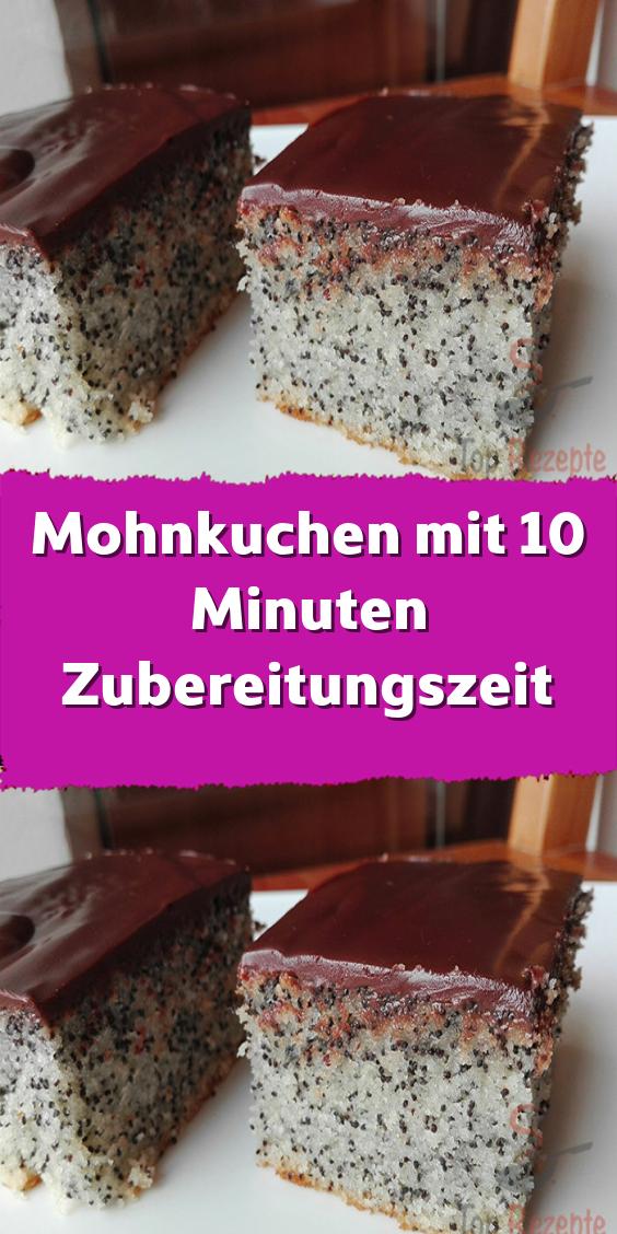 Mohnkuchen mit 10 Minuten Zubereitungszeit
