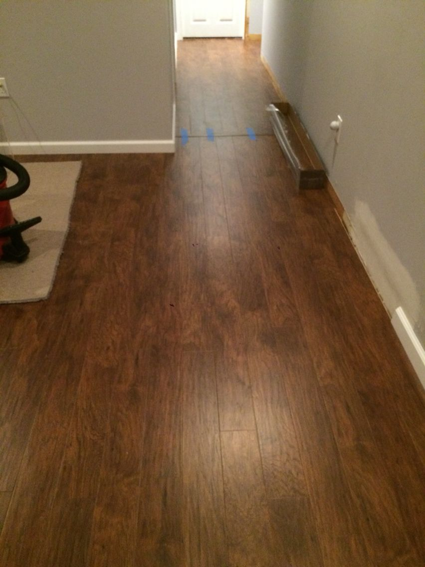 Allen And Roth Handscraped Toasted Chestnut Laminate Flooring We Loveeeeeeee It Laminate Flooring Flooring Basement Remodel Diy