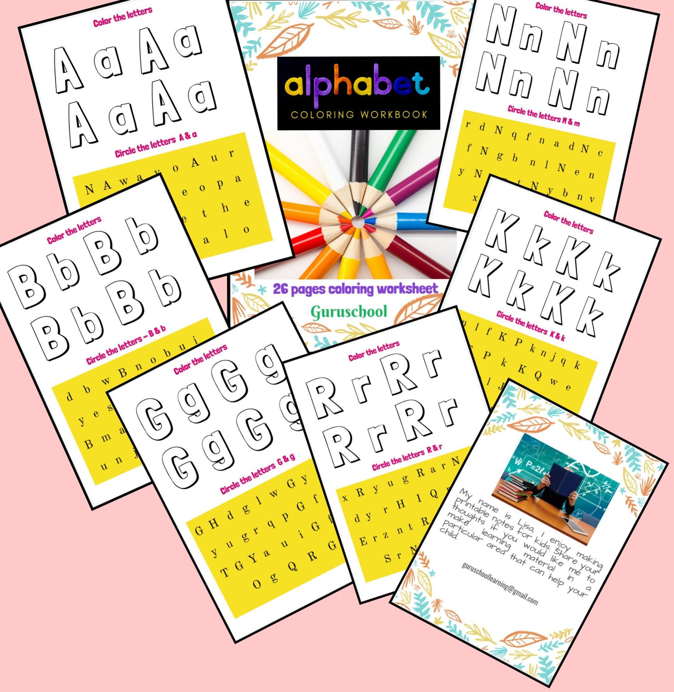 Alphabet Coloring Upper Case Lower Case 26pages Letter