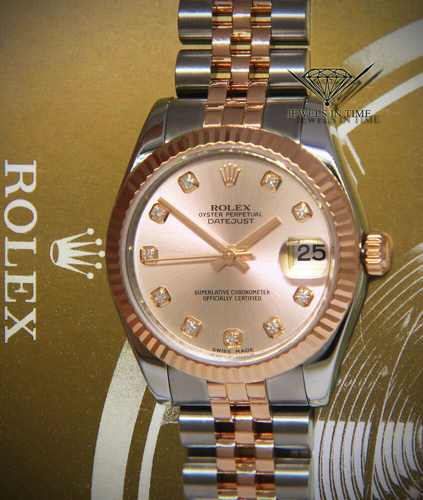 Rolex Datejust 18k Rose Gold/Steel Pink Diamond Dial Ladies