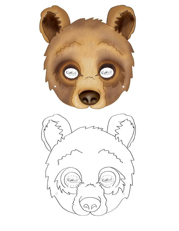 Bear Mask Coloring Page on a budget