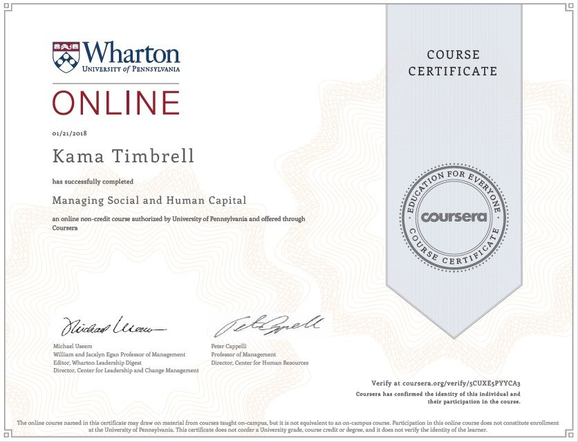 Certificate of Completion for Kama Timbrell, Managing Social and ...
