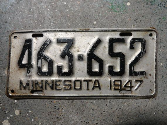 Antique Minnesota license plate 1947 by LABsFABulous on Etsy $12.99 & Antique Minnesota license plate 1947 by LABsFABulous on Etsy $12.99 ...
