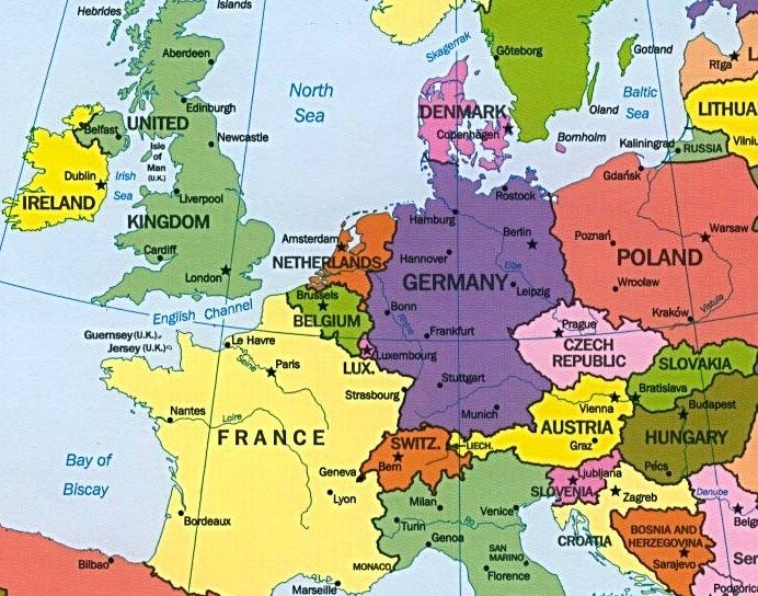 Map of France Belgium and Germany Europe map, Romania