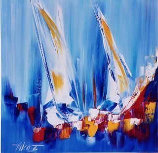 SOLD Tumulte, 20x20 original by Vilcaz.  Available at The Westport River Gallery. http://www.westportrivergallery.com/vilcaz-corrine-french-expressionist.html