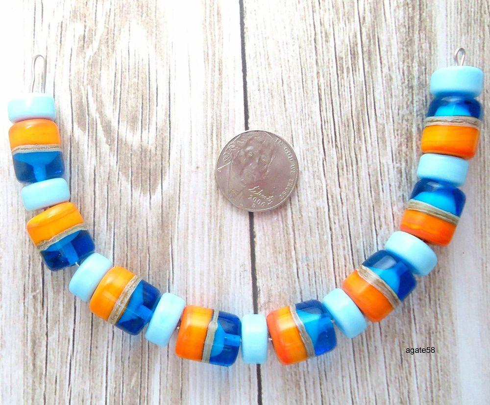 Fun Summer Turquoise & Orange  Barell  Handmade Lampwork Beads SRA #Agate58Lampwork #Lampwork
