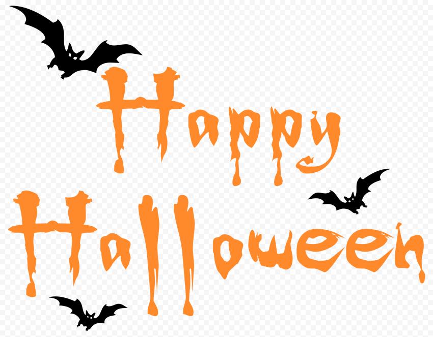 Orange Happy Halloween Logo Text With Black Bats Halloween Logo Black Bat Happy Halloween