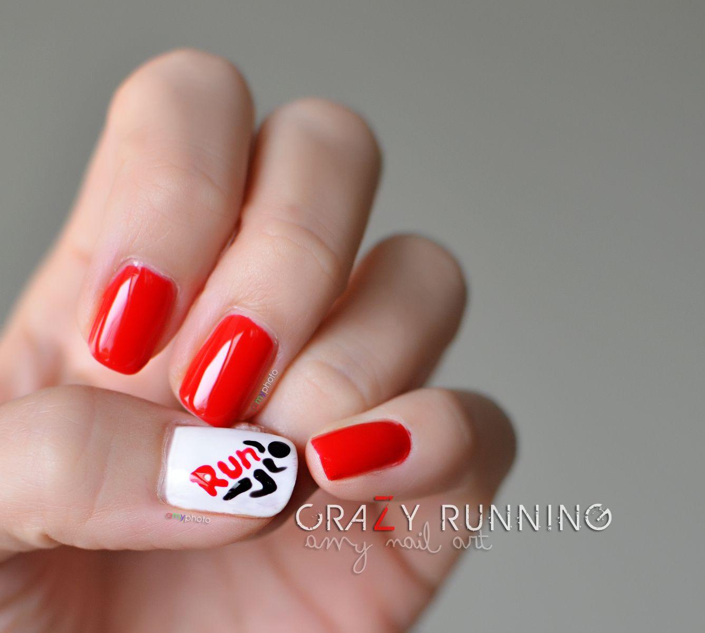 Crazy running nail art. Gel polish #sensationail | Amy Nail Art ...