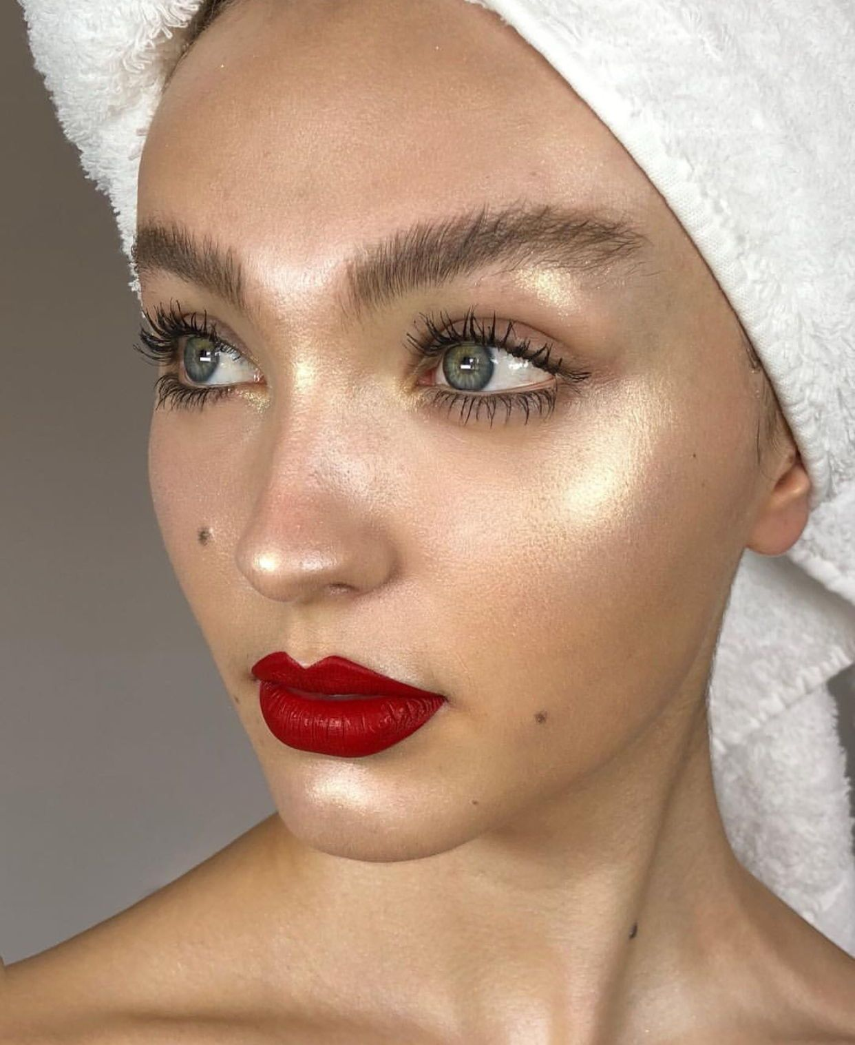 Highlighted skin, natural brushed up eyebrows and red