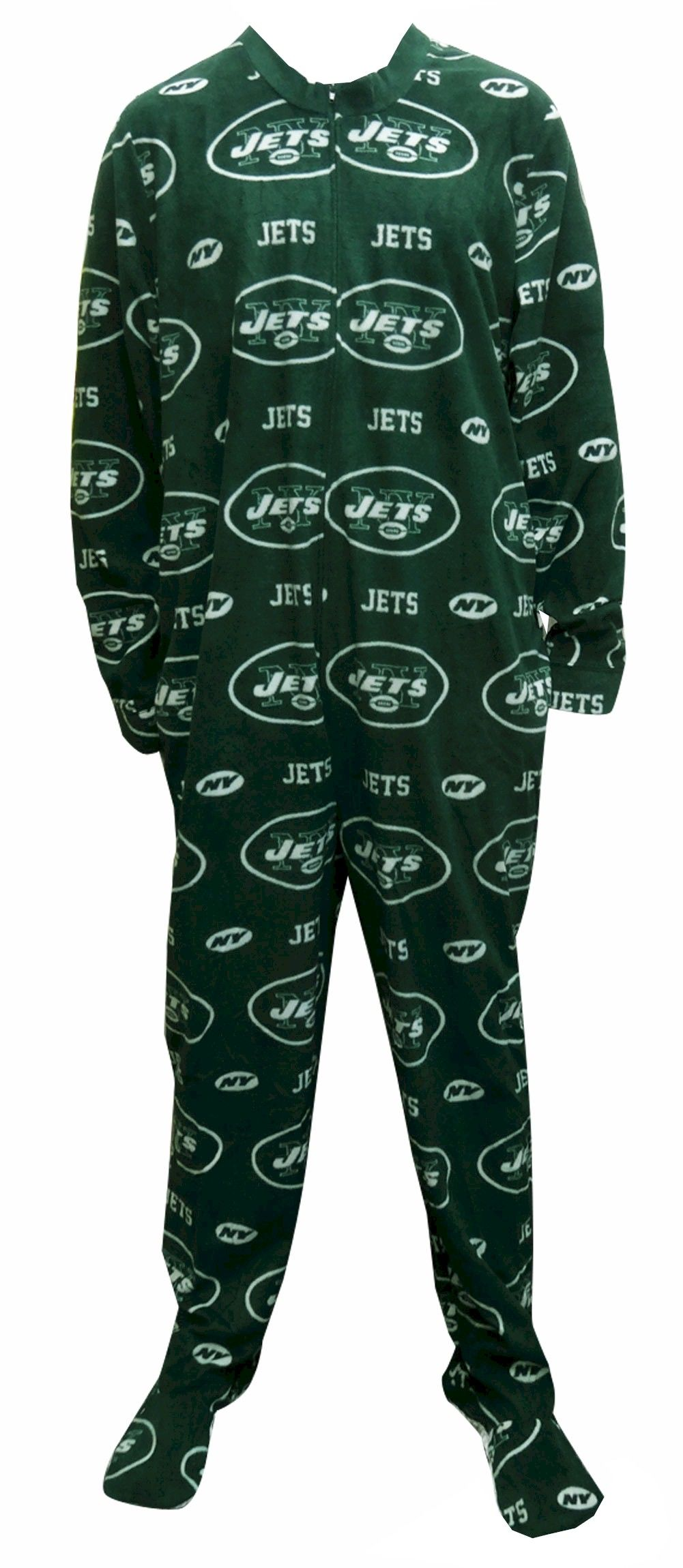 New York Jets Guys Onesie Footie Pajama Go Gang Green! This cozy  microfleece footie pajama for men features the classic New Yor.
