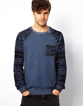 New Look Sweatshirt with Geo-Tribal Raglan Sleeves
