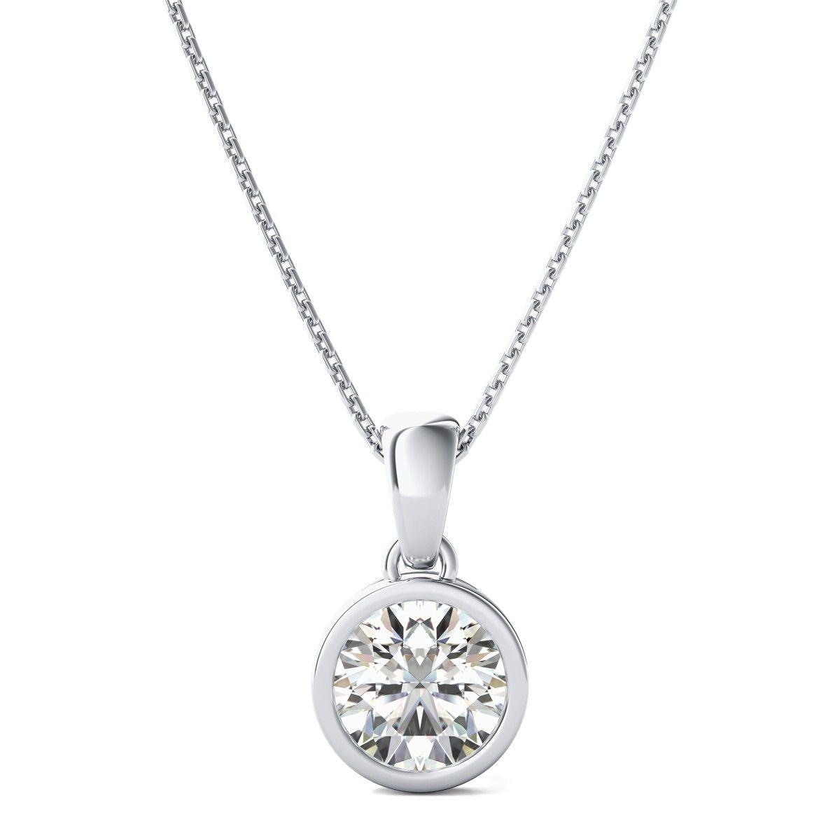Bezel set solitaire pendant with round cut diamond by 90210jewelry bezel set solitaire pendant with round cut diamond by 90210jewelry aloadofball Choice Image