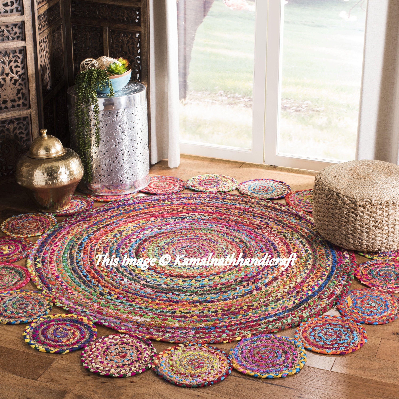Braided Round Rug Rug Meditation Mat Mandala Rug Bohemian Decor Colourful Area Rug Home Decor Rug Floor Rug Circle Rugs Rag Rug 2x2 Feet In 2020 Braided Rag Rugs Floor Rugs