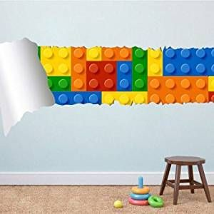 Lego baustein wandtattoo in 3d optik kinderzimmer lego kinderzimmer kinder zimmer und - Lego wandtattoo ...