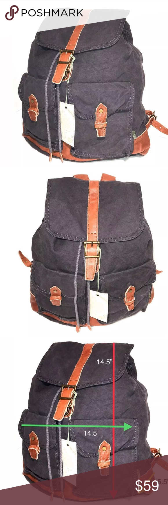 bdf6bccab7ea TSD Brand Canvas w Leather Trim Large Backpack TSD Brand ~ Trail Breeze  📌Description Color  Dark Grey Material  100% cotton canvas with leather  trim ...