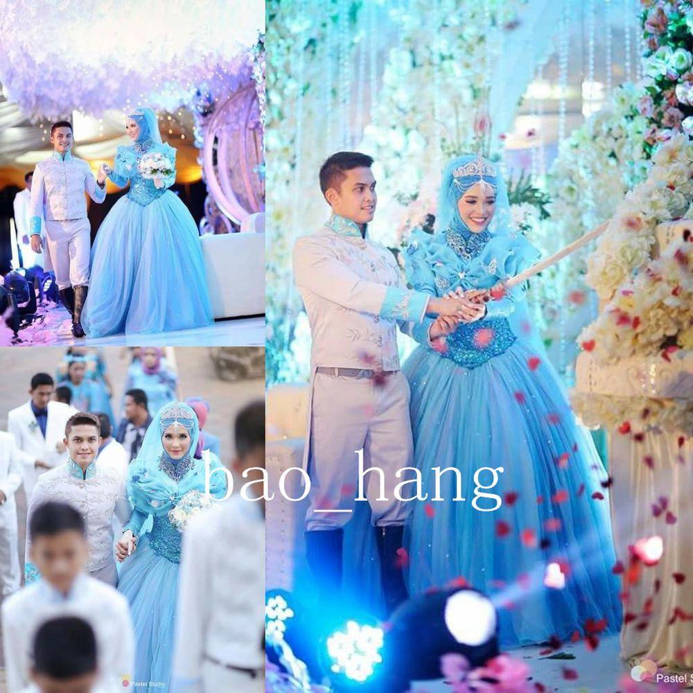 Cinderella Blue Muslim Wedding Dress Ball Gown Long Sleeve High Neck ...
