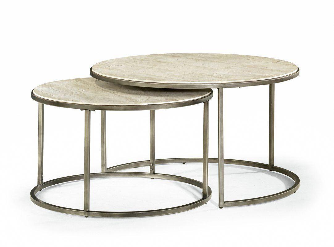 Masuda 2 Piece Coffee Table Set Farmhousetable Nesting Coffee Tables Round Metal Coffee Table Round Cocktail Tables [ 800 x 1082 Pixel ]