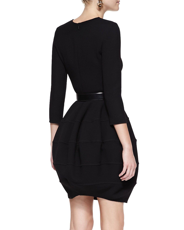 Oscar de la renta Long-Sleeve Bubble-Skirt Dress in Black | Lyst
