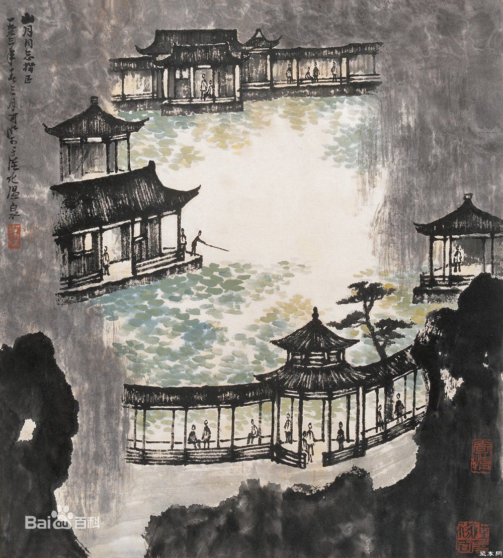 Японский город рисунок тушью