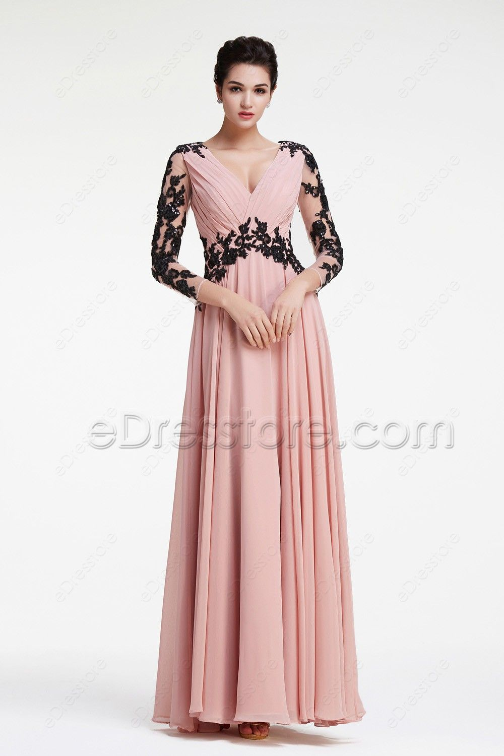 Modest Dusty Rose Prom Dresses Long Sleeves   Dusty rose, Pleated ...